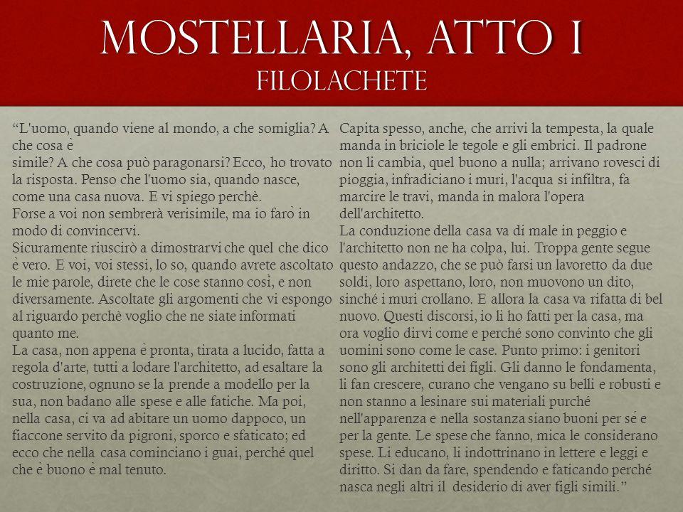 Mostellaria, atto I Filolachete