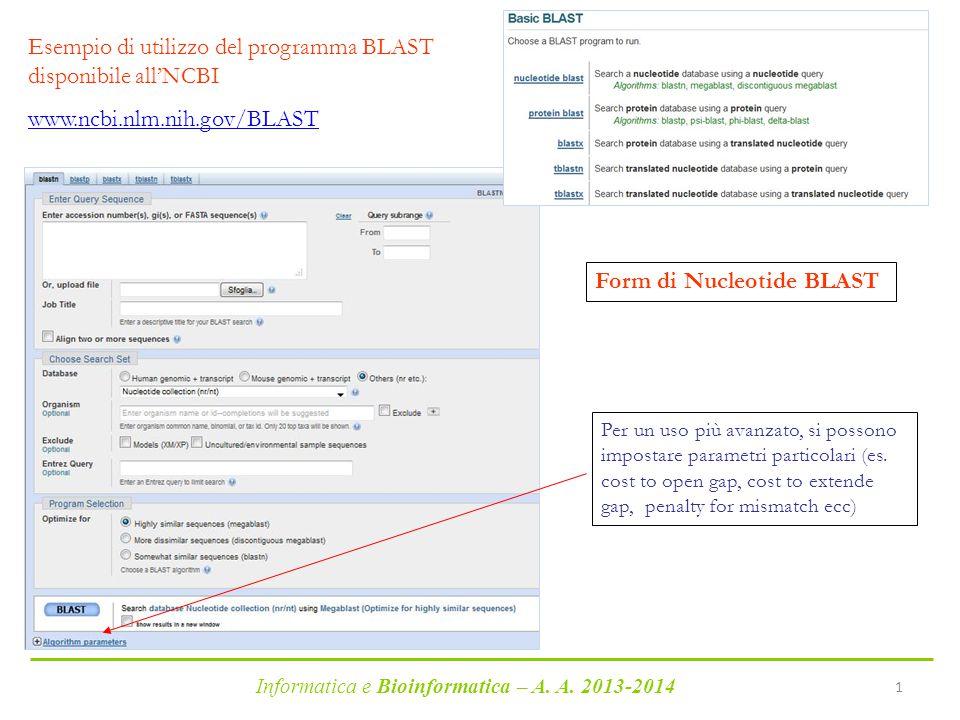 Esempio di utilizzo del programma BLAST disponibile all'NCBI