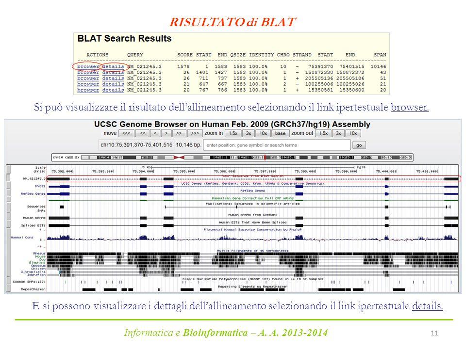 RISULTATO di BLAT Si può visualizzare il risultato dell'allineamento selezionando il link ipertestuale browser.