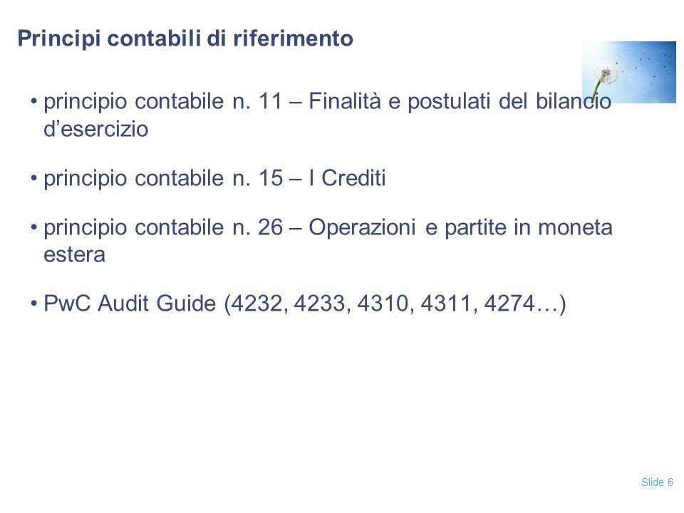 Principi contabili di riferimento