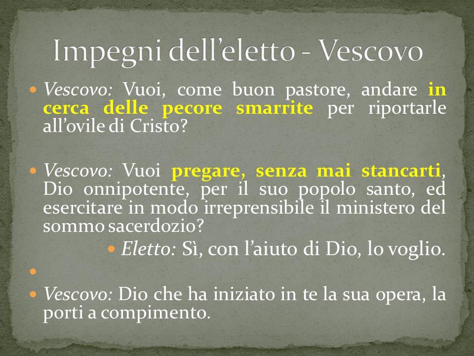 Impegni dell'eletto - Vescovo