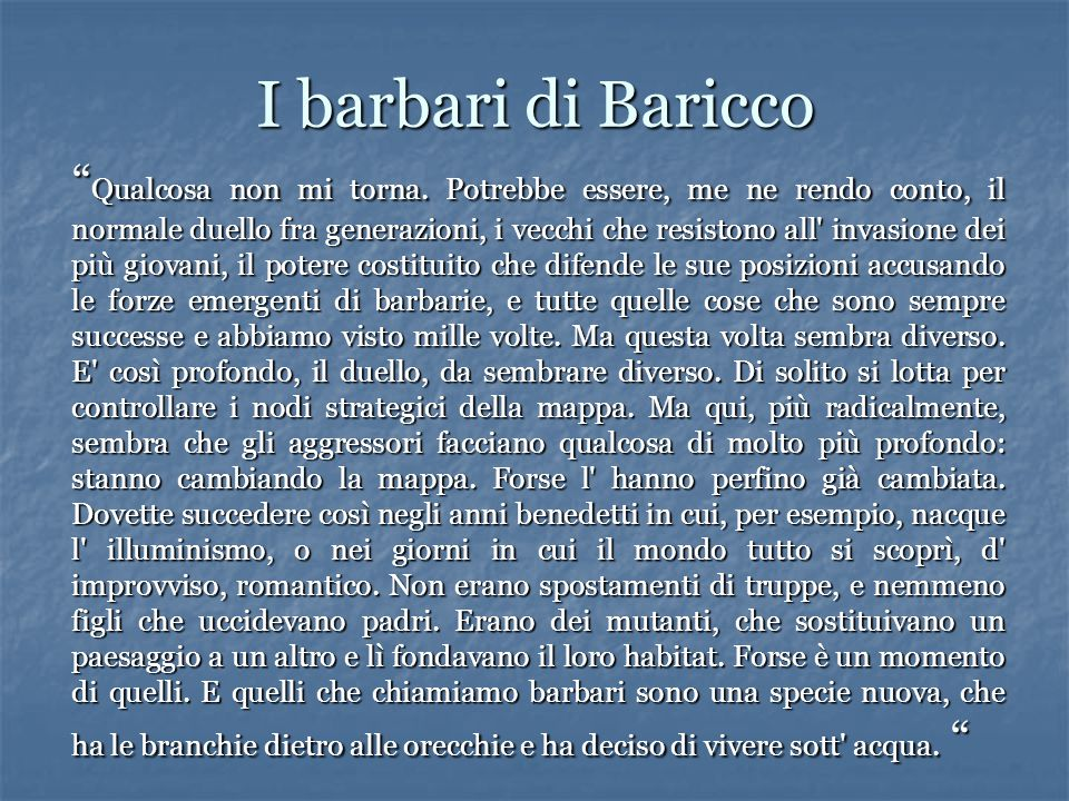 I barbari di Baricco