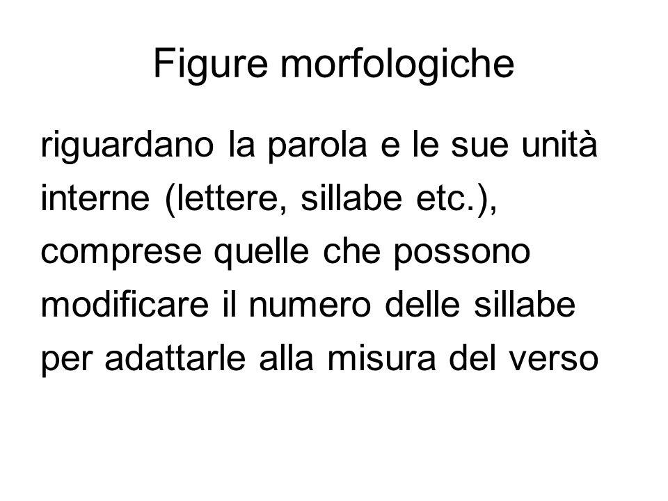 Figure morfologiche riguardano la parola e le sue unità