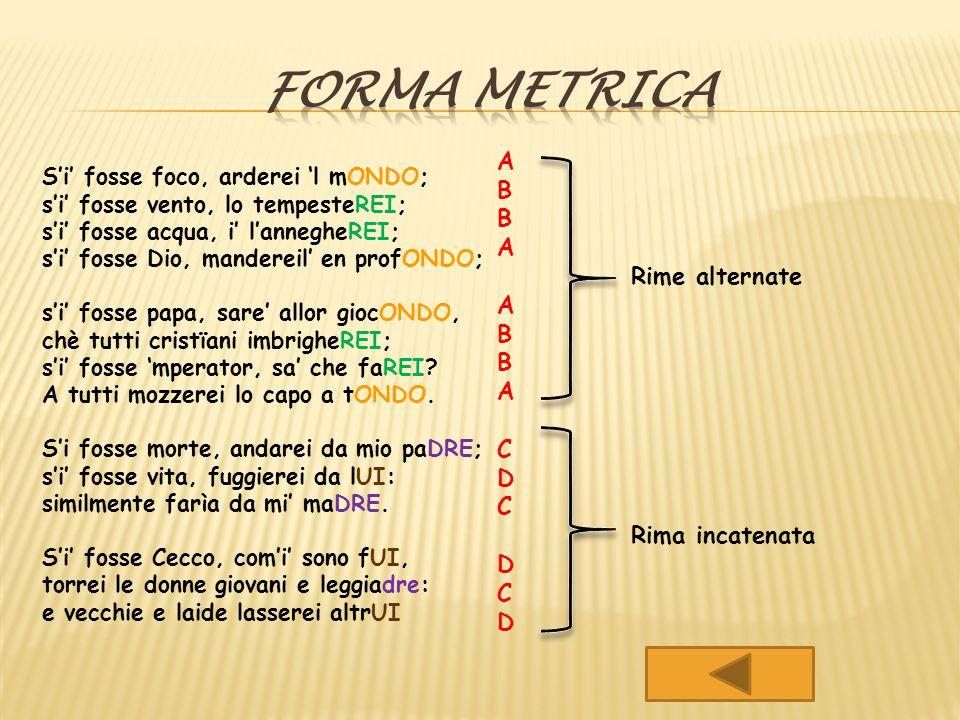 Forma metrica A B Rime alternate C D Rima incatenata