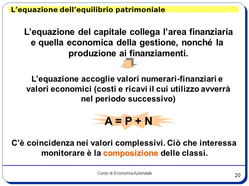 A = P + N L'equazione del capitale collega l'area finanziaria