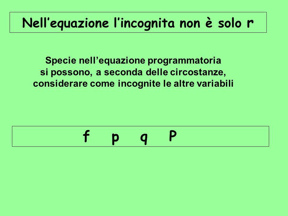 f p q P Nell'equazione l'incognita non è solo r