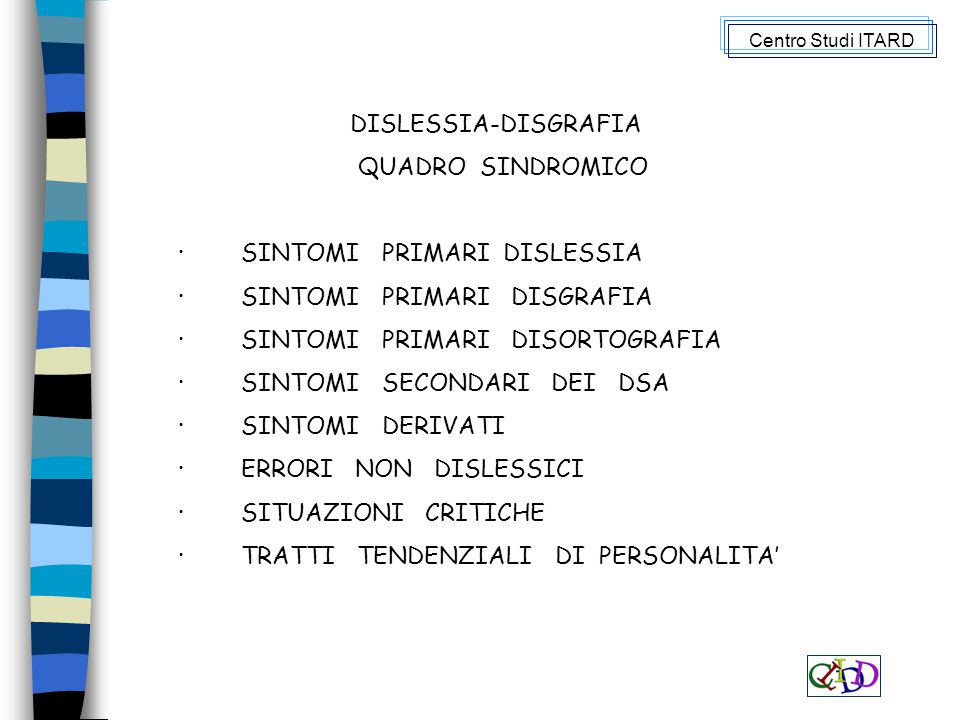 · SINTOMI PRIMARI DISLESSIA · SINTOMI PRIMARI DISGRAFIA