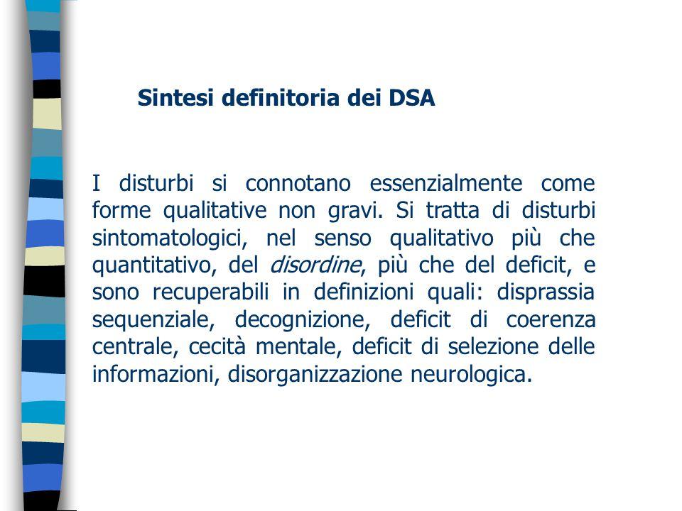 Sintesi definitoria dei DSA