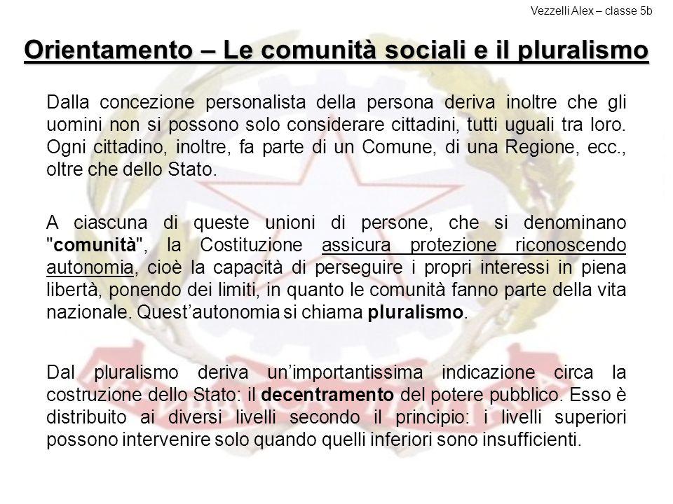 Orientamento – Le comunità sociali e il pluralismo