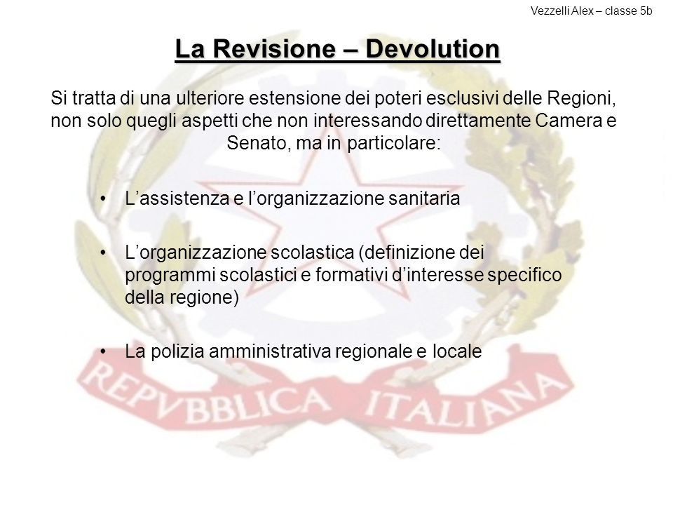 La Revisione – Devolution