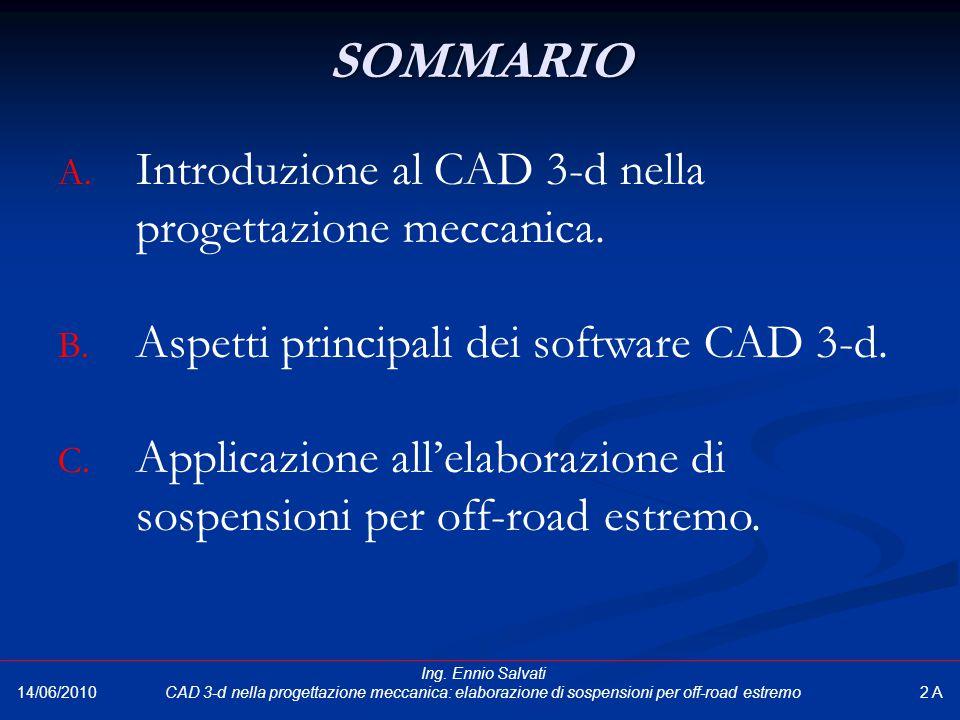 SOMMARIO Introduzione al CAD 3-d nella progettazione meccanica.