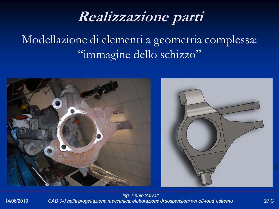 Realizzazione parti Modellazione di elementi a geometria complessa: