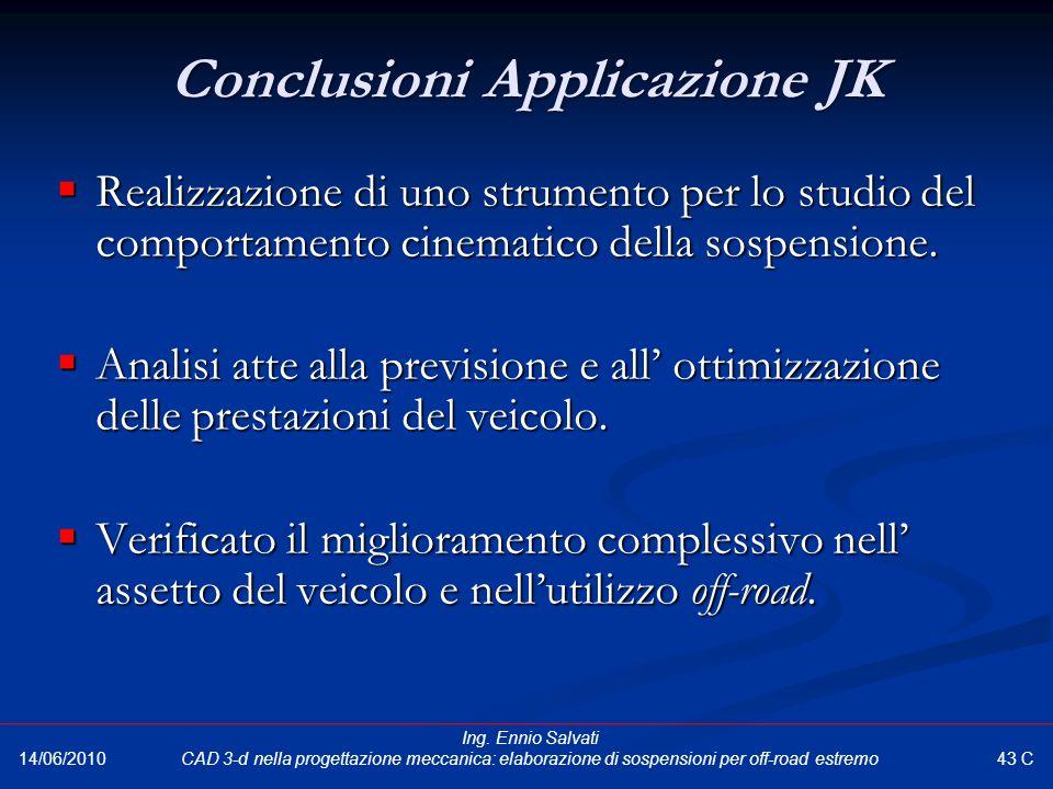 Conclusioni Applicazione JK