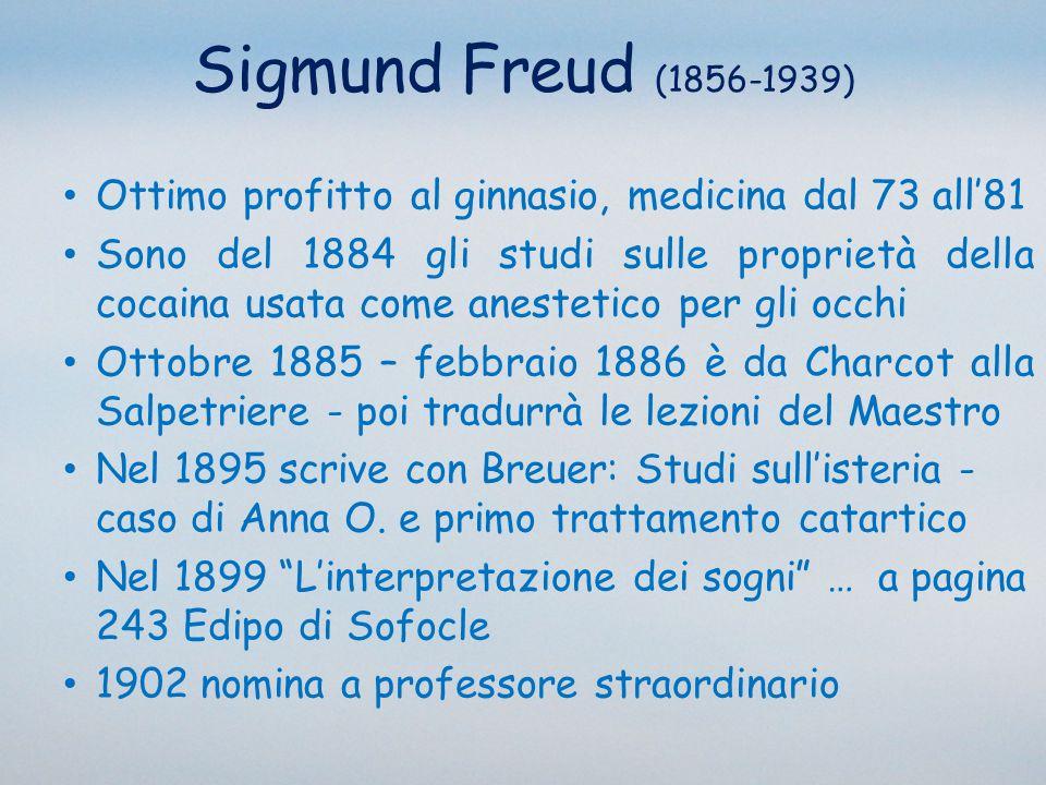 Sigmund Freud (1856-1939) Ottimo profitto al ginnasio, medicina dal 73 all'81.