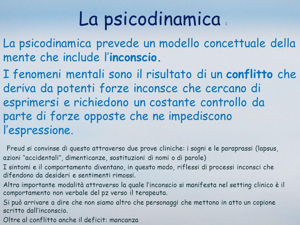 La psicodinamica 1 La psicodinamica prevede un modello concettuale della mente che include l'inconscio.