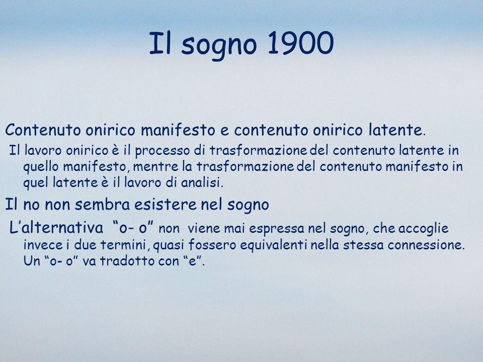 Il sogno 1900 Contenuto onirico manifesto e contenuto onirico latente.