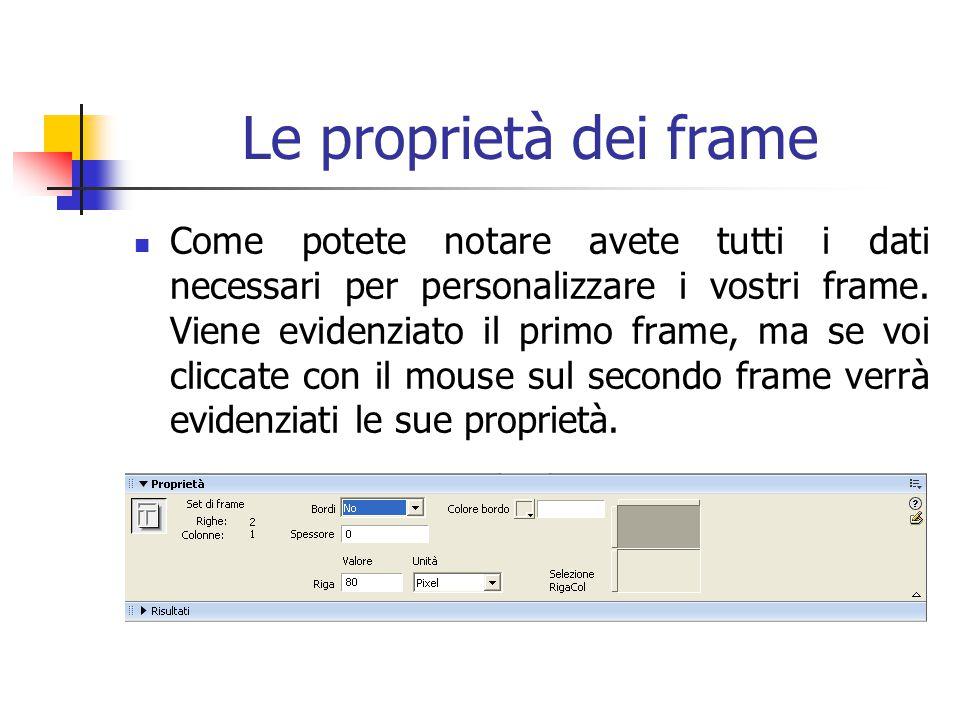 Le proprietà dei frame