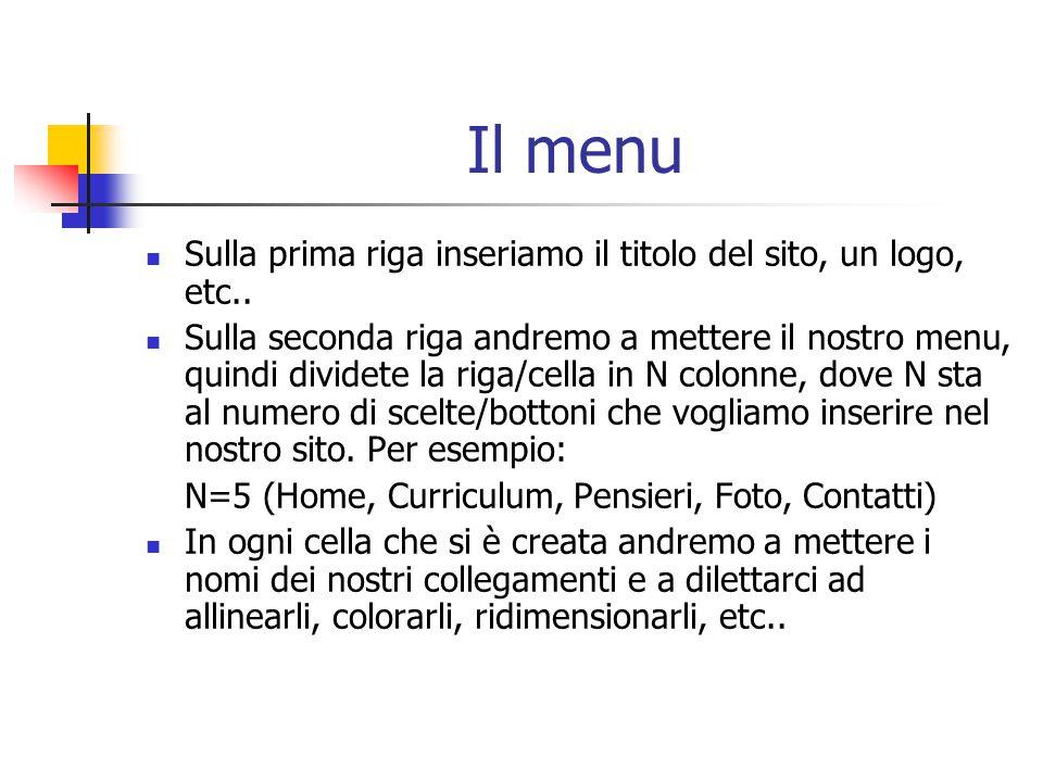 Il menu Sulla prima riga inseriamo il titolo del sito, un logo, etc..