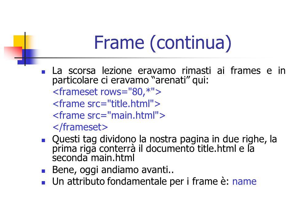 Frame (continua) La scorsa lezione eravamo rimasti ai frames e in particolare ci eravamo arenati qui:
