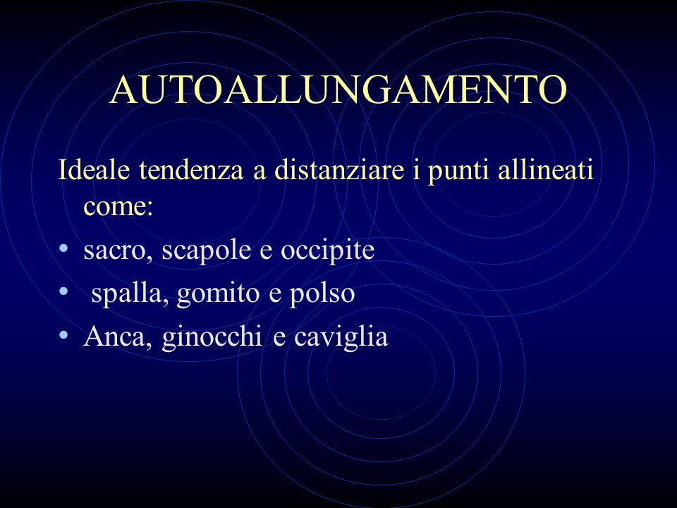AUTOALLUNGAMENTO Ideale tendenza a distanziare i punti allineati come: