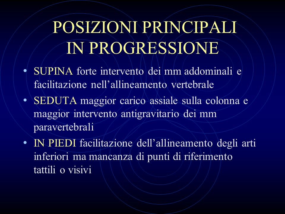 POSIZIONI PRINCIPALI IN PROGRESSIONE