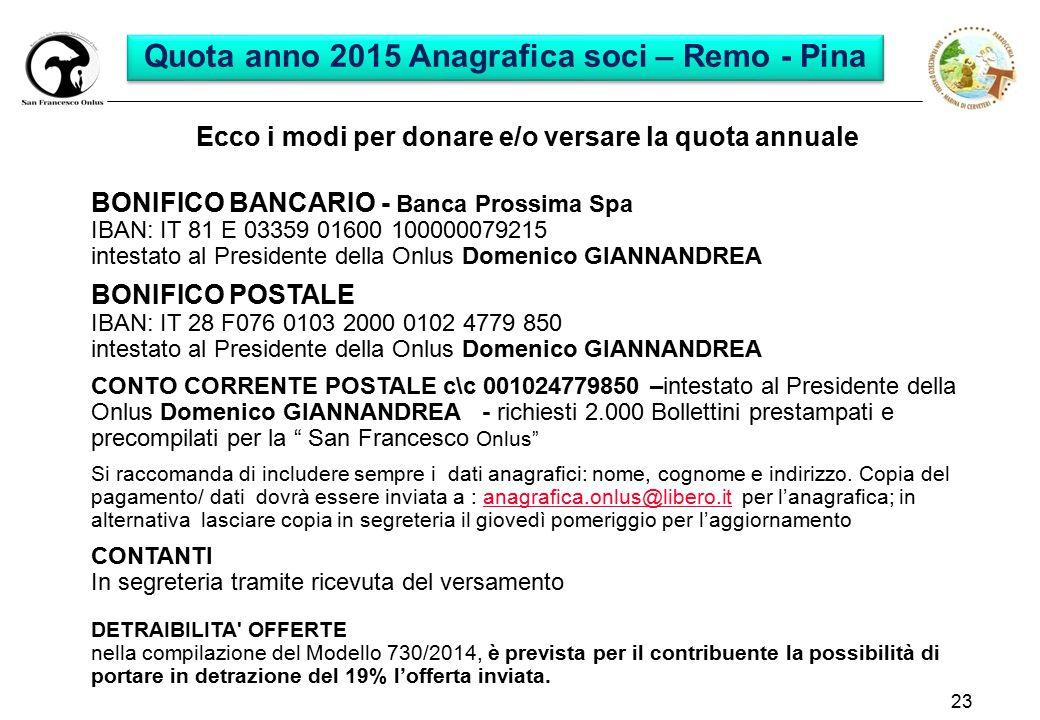 Quota anno 2015 Anagrafica soci – Remo - Pina