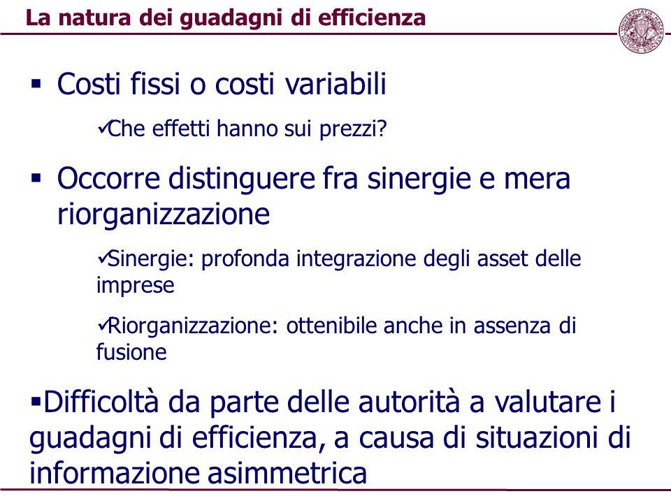La natura dei guadagni di efficienza
