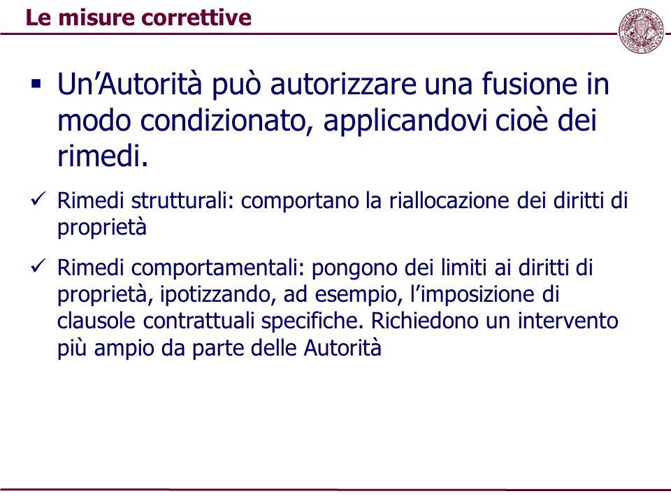 Le misure correttive Un'Autorità può autorizzare una fusione in modo condizionato, applicandovi cioè dei rimedi.