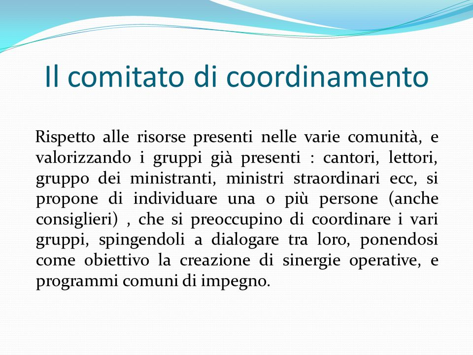 Il comitato di coordinamento