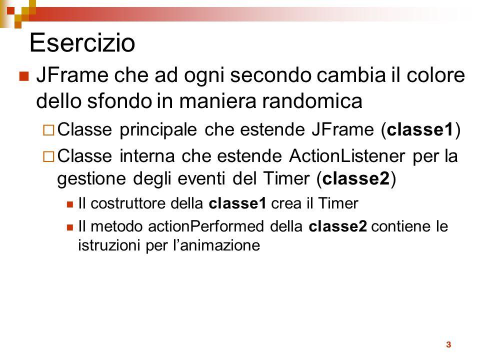 Esercizio JFrame che ad ogni secondo cambia il colore dello sfondo in maniera randomica. Classe principale che estende JFrame (classe1)