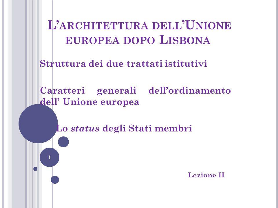 L'architettura dell'Unione europea dopo Lisbona