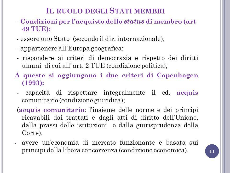 Il ruolo degli Stati membri