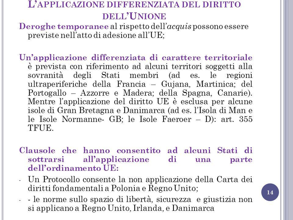 L'applicazione differenziata del diritto dell'Unione