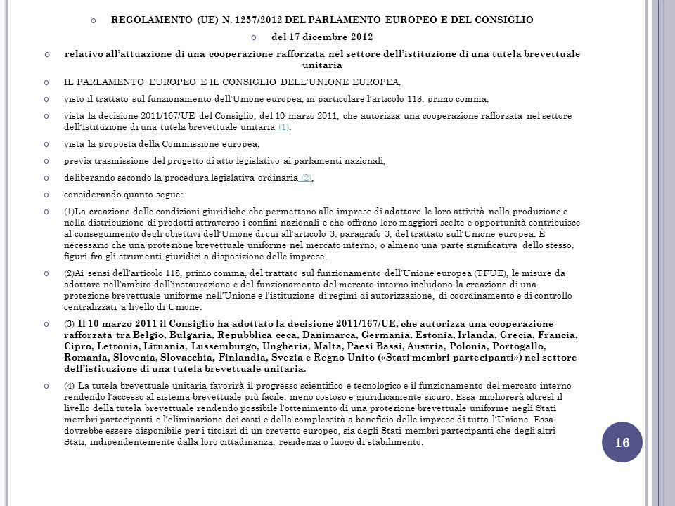 REGOLAMENTO (UE) N. 1257/2012 DEL PARLAMENTO EUROPEO E DEL CONSIGLIO