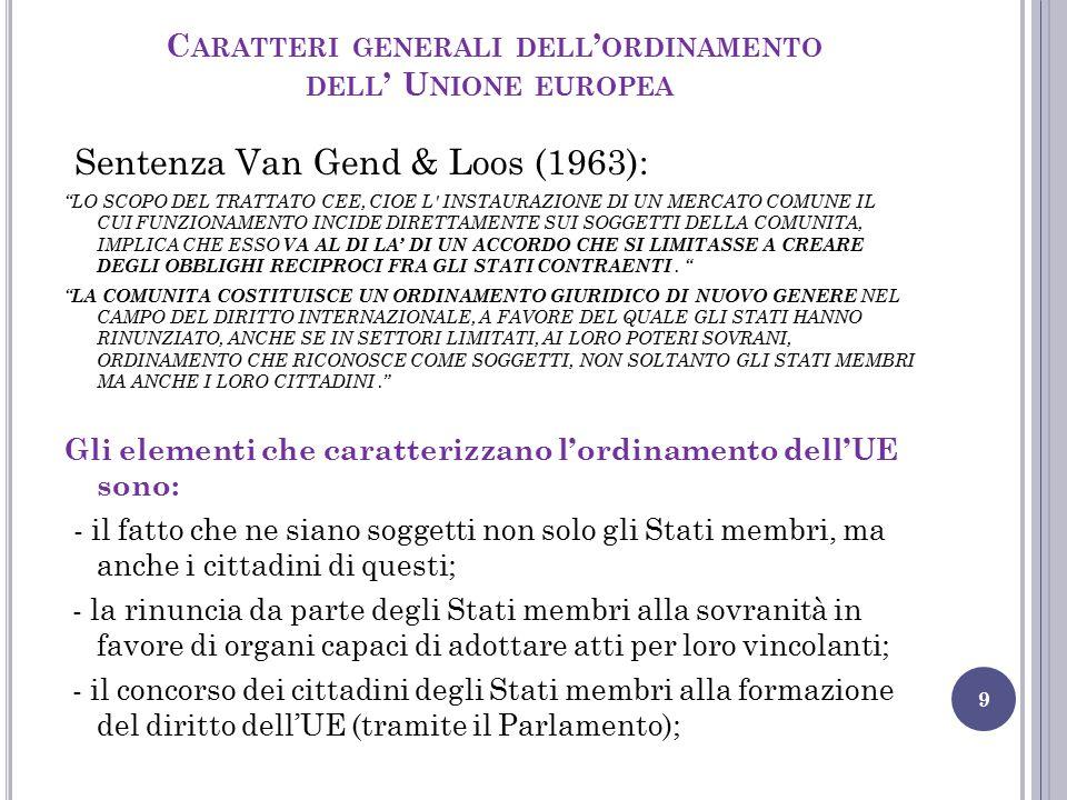 Caratteri generali dell'ordinamento dell' Unione europea