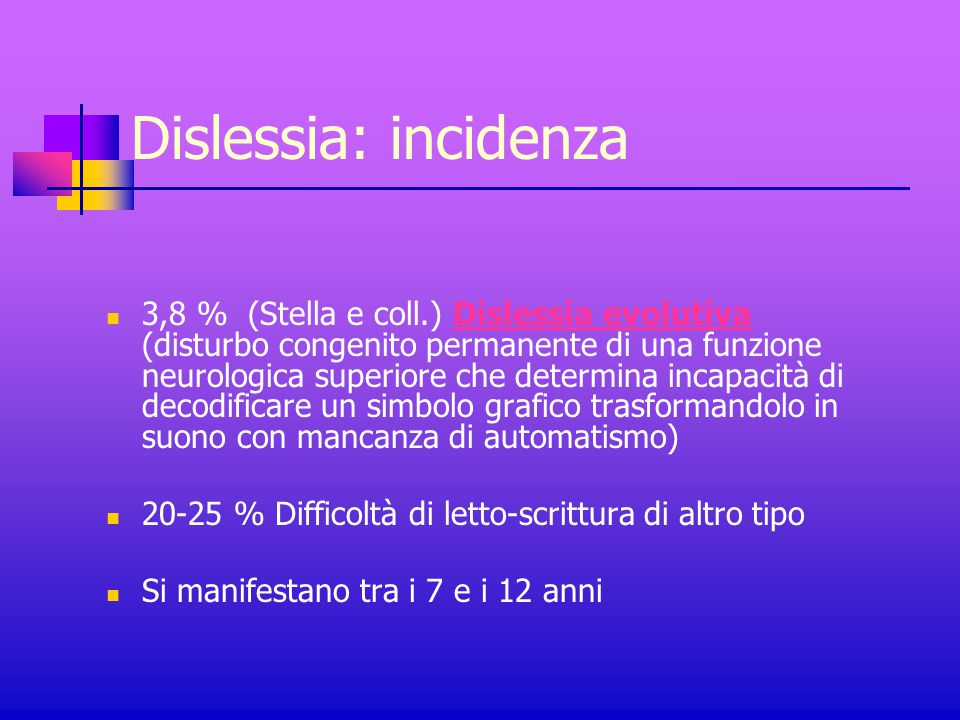 Dislessia: incidenza