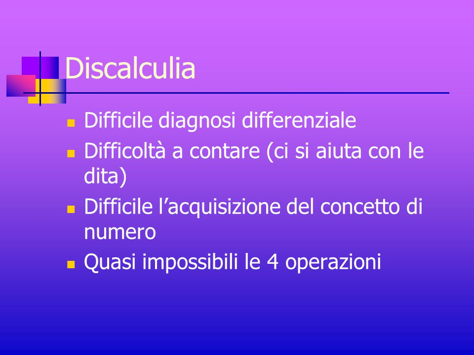 Discalculia Difficile diagnosi differenziale