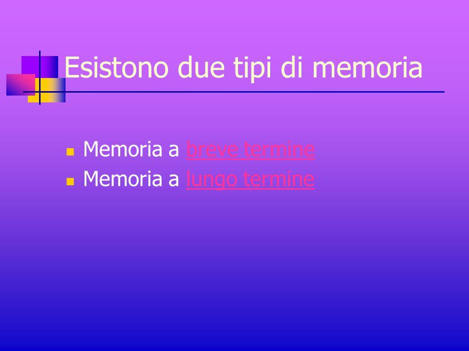 Esistono due tipi di memoria