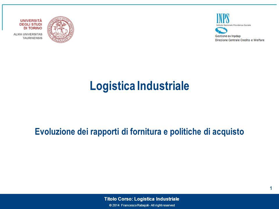 Logistica Industriale Evoluzione dei rapporti di fornitura e politiche di acquisto