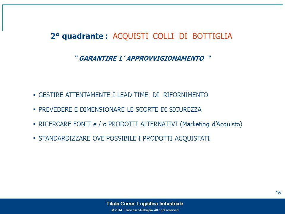 2° quadrante : ACQUISTI COLLI DI BOTTIGLIA