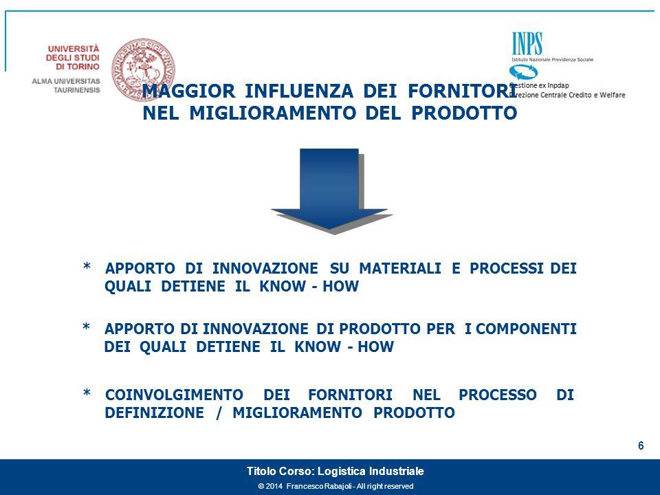 MAGGIOR INFLUENZA DEI FORNITORI NEL MIGLIORAMENTO DEL PRODOTTO