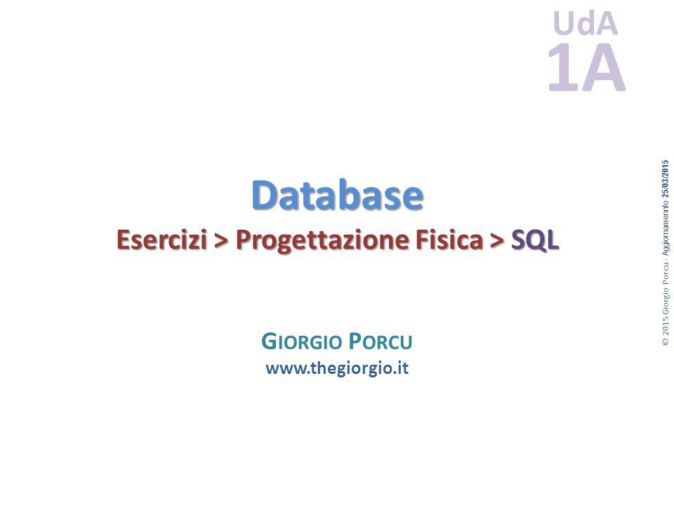 Database Esercizi > Progettazione Fisica > SQL