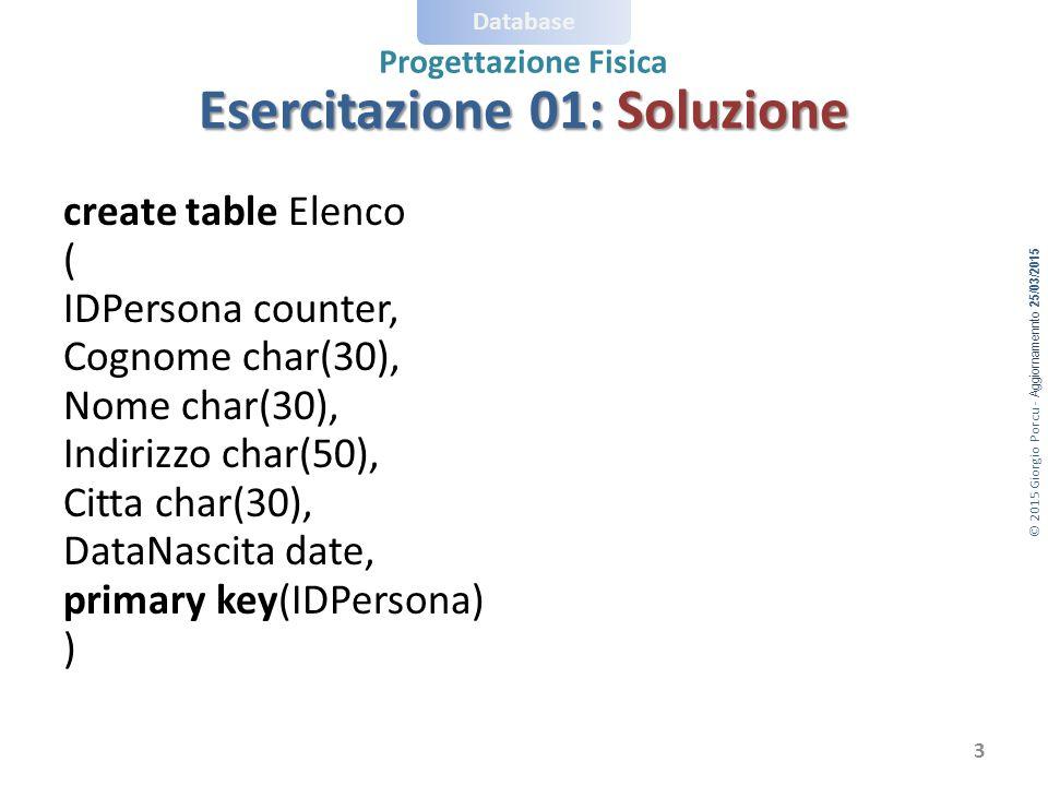 Esercitazione 01: Soluzione
