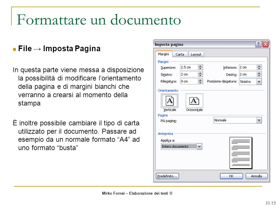 Formattare un documento