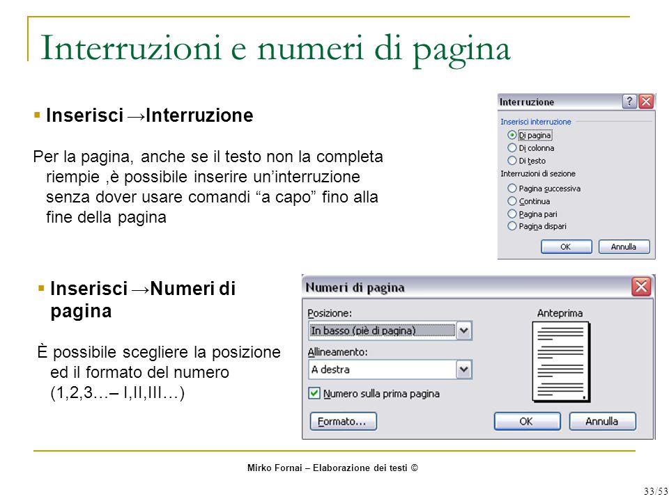 Interruzioni e numeri di pagina