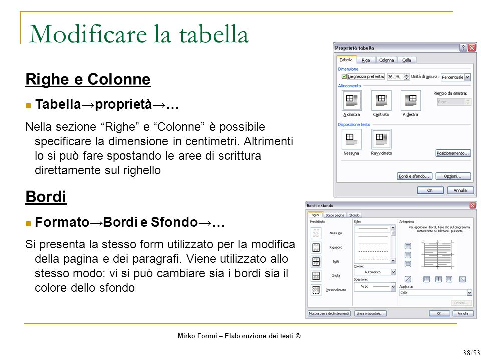 Modificare la tabella Righe e Colonne Bordi Tabella→proprietà→…