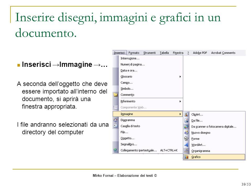 Inserire disegni, immagini e grafici in un documento.