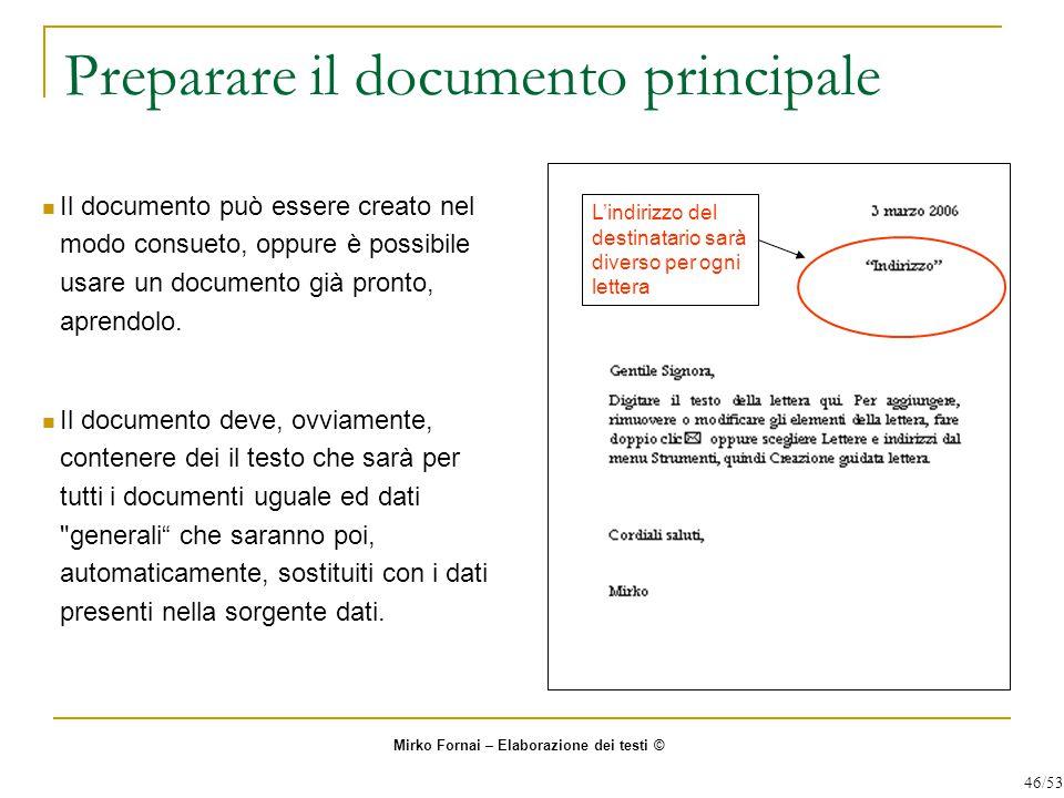 Preparare il documento principale