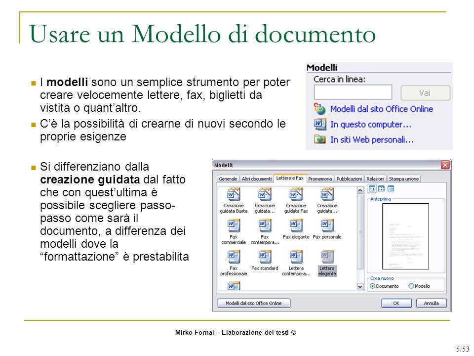 Usare un Modello di documento