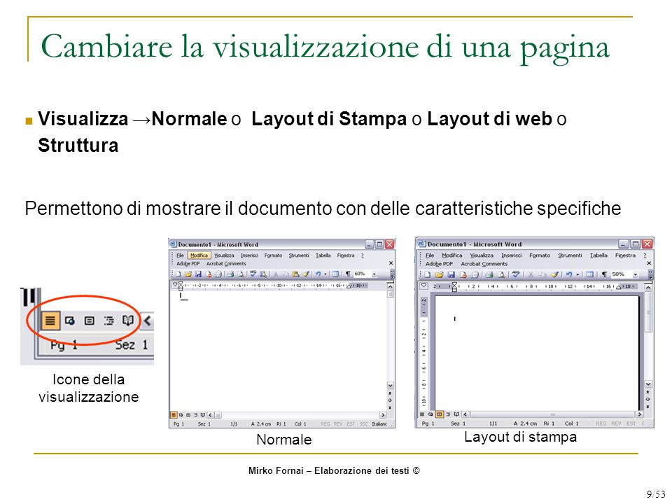 Cambiare la visualizzazione di una pagina